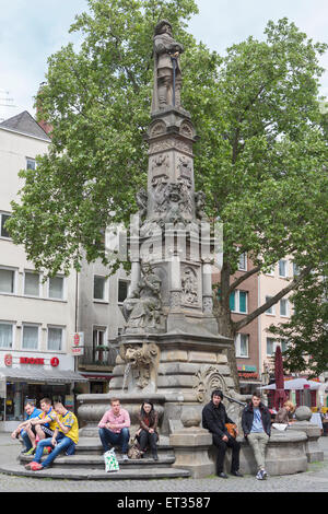 Old Market and Fountain with monument to Jan von Werth. - Stock Photo