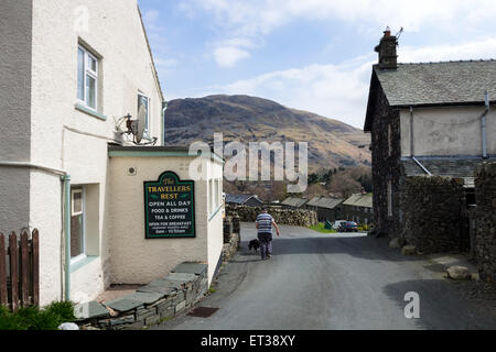 The Travellers Rest in Glenridding Lake District Cumbria UK - Stock Photo