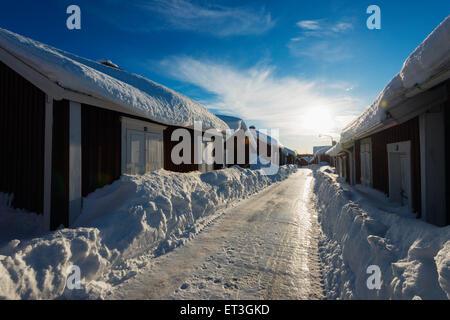 Arctic Circle, Lapland, Scandinavia, Sweden, Lulea, Gamelstad old town, Unesco World Heritage site - Stock Photo