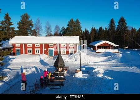 Arctic Circle, Lapland, Scandinavia, Sweden, Lulea, Gamelstad, open air museum, Unesco World Heritage site - Stock Photo