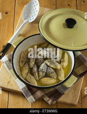 Skubánky. Potato dumplings with poppy seeds. Central Europe Food - Stock Photo