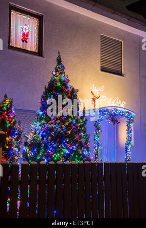 Decorated Christmas tree outside house, Bavaria, Germany - Stock Photo