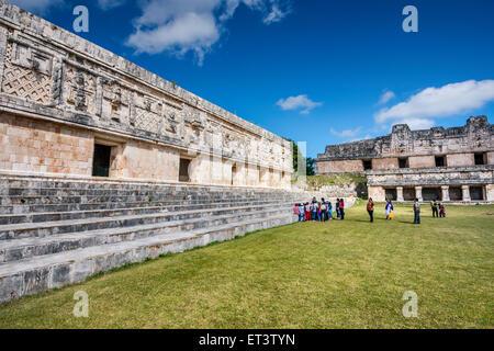 Cuadrangulo de las Monjas (Nunnery Quadrangle), Maya ruins at Uxmal archaeological site, Yucatan Peninsula, Mexico - Stock Photo