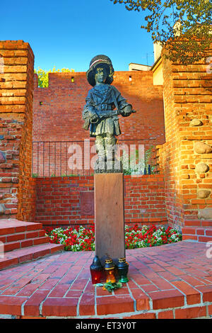 The Little Insurgent statue, Maly Powstaniec, commemorating the child soldiers of the Warsaw Uprising  in Warsaw, - Stock Photo