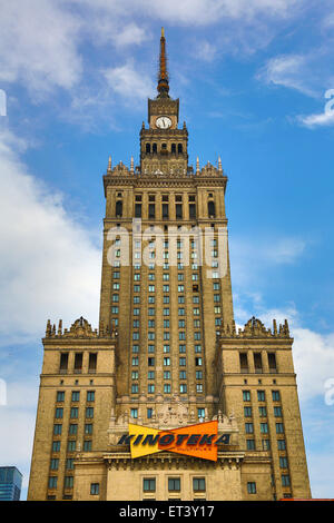 Palace of Culture and Science in Warsaw, Poland - Example of Stalinist architecture - Stock Photo