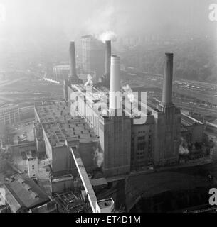 Aerial view of Battersea Power Station, London. 4th October 1962. - Stock Photo