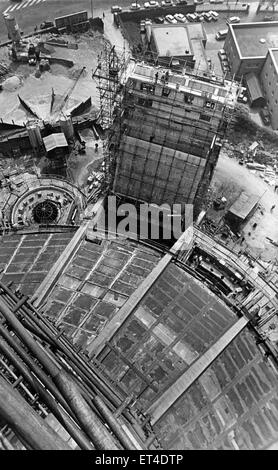Looking down from the 210ft present height of Liverpool's Metropolitan Cathedral, Merseyside. The bottom half of - Stock Photo