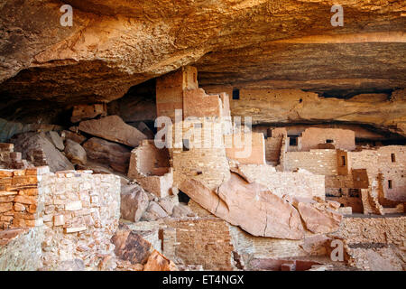 The Cliff Palace ruins in Mesa Verde National Park, Colorado. - Stock Photo