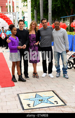 Annie Miami Walk Of Fame Ceremony at Bayside Marketplace  Featuring: Quvenzhane Wallis, Will Gluck, Cameron Diaz, - Stock Photo