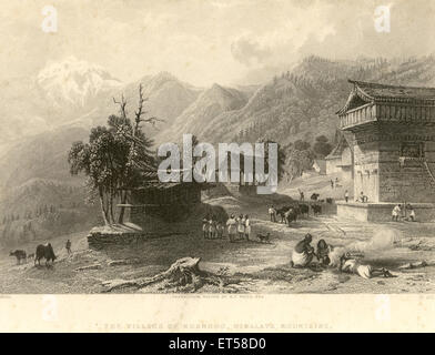 The village of khandoo ; Himalayan mountains ; India - Stock Photo