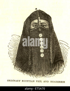 Lithographic Portraits Ordinary Egyptian Veil And Headdress