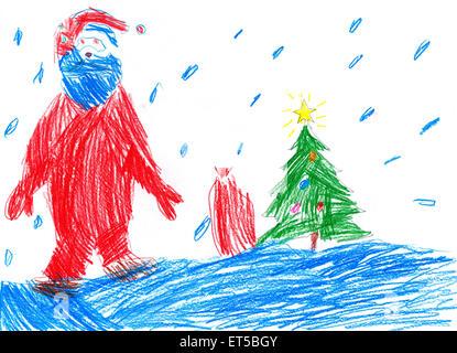 Christmas tree and santa drawing on chalkboard Handdrawn vector