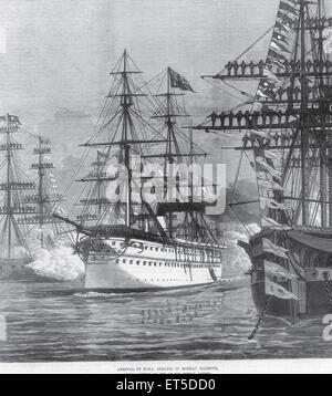 Royalty on Tour Arrival of HMS Serapis in Bombay Harbour  ; Bombay Mumbai ; Maharashtra ; India - Stock Photo