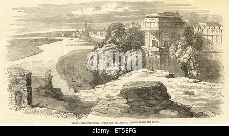 Military and munity mutiny Views Delhi after the Siege from the Selimghur ; looking down the Jumna Yamuna ; India - Stock Photo
