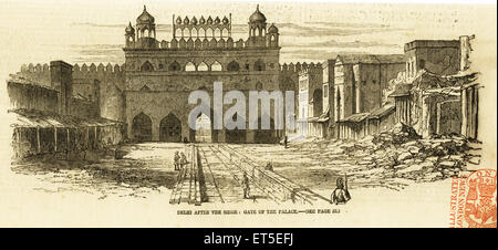 Military & munity mutiny Views Delhi after the Siege gate of the Palace ; India - Stock Photo