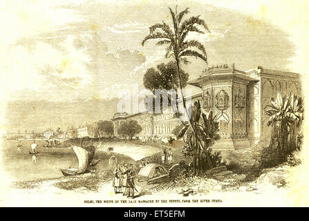Military and munity mutiny views Delhi scene of late massacre by Sepoys soldiers from river Jumna Yamuna ; India - Stock Photo