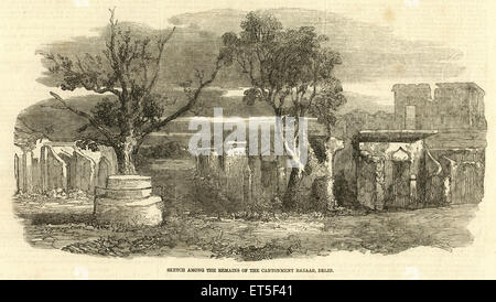 Military and munity mutiny Views sketch among the remains of the Cantonment Bazaar ; Delhi ; India - Stock Photo