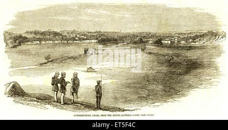 Military and munity mutiny Views Subseemundee ; Delhi from Mound Battery ; India - Stock Photo