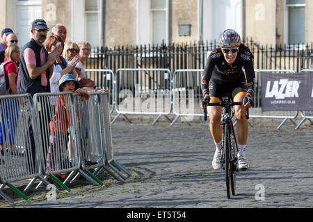 Bath, UK, 11th June, 2015. With Bath's famous Royal Crescent in the background 2012 Olympic gold medalist Dani King - Stock Photo