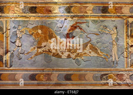 The Bull-leaping fresco from the Minoan Palace of Knossos, in the Archaeological Museum of Heraklion, Crete, Greece - Stock Photo