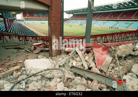 The Holte End stand at Villa Park is demolished by workmen. 10th May 1994. - Stock Photo