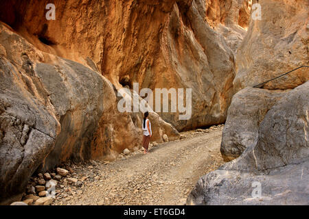The spectacular Trypiti canyon, to the south of Heraklion prefecture, Crete. Right behind it there is a beautiful - Stock Photo