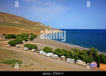 Trypiti beach at the exit of a beautiful canyon, Heraklion, south Crete, Greece - Stock Photo