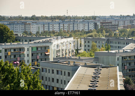 Berlin, Germany, view of the prefabricated buildings of Berlin-Hellersdorf - Stock Photo
