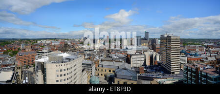 leeds city skyline panoramic showing town hall, university and civic hall,yorkshire united kingdom - Stock Photo