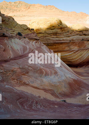 Scene from the beautiful geological formation of colorful folded sandstone known as 'The Wave.' North Coyote Buttes, - Stock Photo