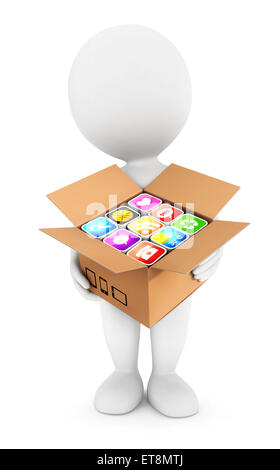 3d white people holding a box with applications, isolated white background, 3d image - Stock Photo