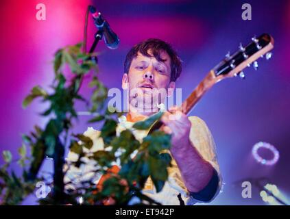 Rock band British Sea Power in concert at The Ritz, Manchester, UK, 11th June, 2015. Jan Scott Wilkinson lead singer - Stock Photo