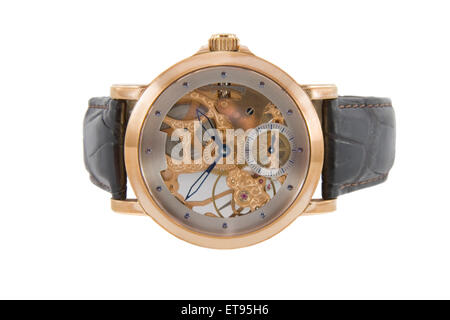 Rich gold swiss made chronograph watch in white background - Stock Photo