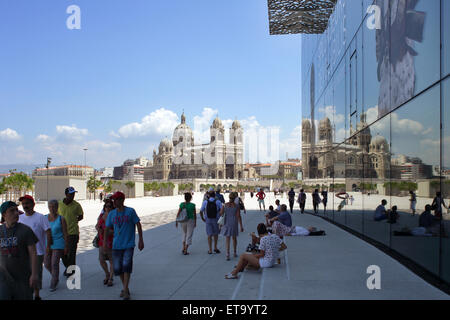 Marseille, France, view from MuCEM to Marseille Cathedral - Stock Photo