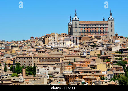 Overlooking Toledo with the Alcazar on top of the hill, Spain - Stock Photo