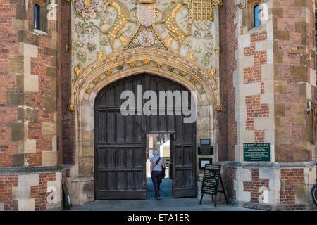 Entrance for St Johns College, Cambridge University, - Stock Photo