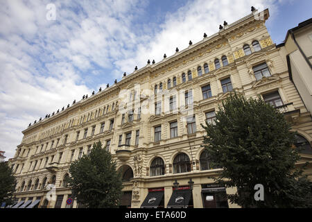 Prague, Czech Republic, magnificent old building facade in Prague's Old Town - Stock Photo