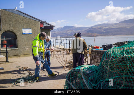 Fishermen try to untangle lots of ropes on the quayside in the sunshine with the mountains of Cader Idris in the - Stock Photo