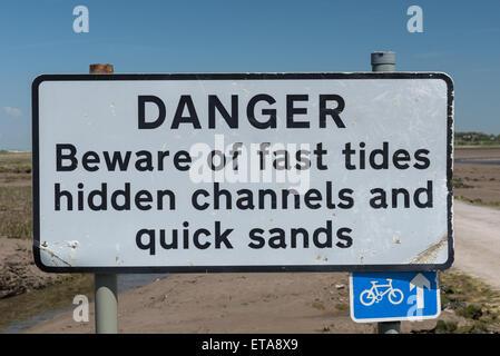 Danger Sign at Sunderland Point near Lancaster - Stock Photo