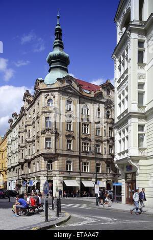 Prague, Czech Republic, Old buildings in the Josefstadt - Stock Photo