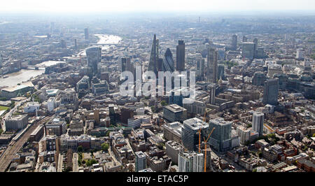 panoramic aerial view of London including The City, Gherkin, Walkie Talkie building & Cheesegrater, and The Thames, - Stock Photo