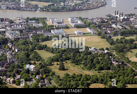 aerial view of The University of Greenwich, Queens House, Royal Naval College & Maritime Institute in Greenwich, - Stock Photo