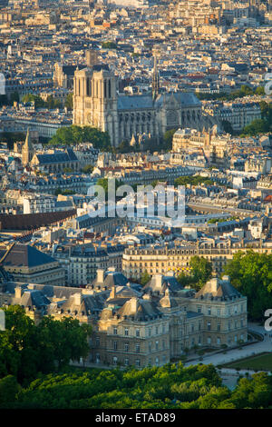Overhead view of Paris with Cathedral Notre Dame and Palais Luxembourg, Paris, France - Stock Photo