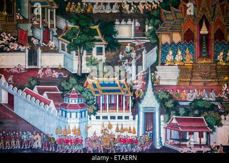Asia. Thailand, Bangkok. Wat Arun. Traditional wall painting. - Stock Photo