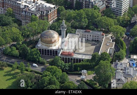 aerial view of The Islamic Cultural Centre and The London Central Mosque, near Regents Park, London, UK - Stock Photo
