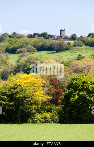 A long shot from the west of the Cotswold town of Stow on the Wold, Gloucestershire UK - Stock Photo
