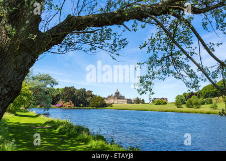 View of the house from the South Lake, Castle Howard, near York, North Yorkshire, England, UK - Stock Photo