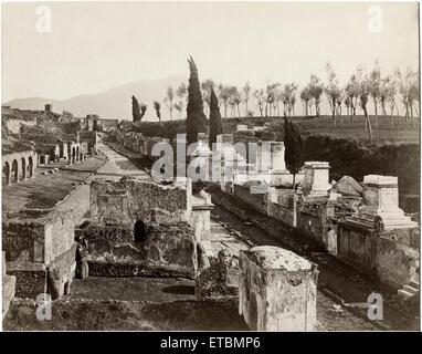 Ruins, Street of Tombs, Pompeii, Italy, Albumen Print, circa 1880 - Stock Photo