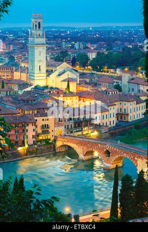 Ponte Pietra and Adige at night, Verona, Italy - Stock Photo