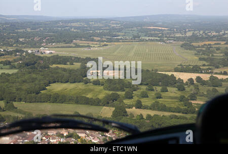 aerial view as coming into land at Redhill Aerodrome in Surrey, UK - Stock Photo